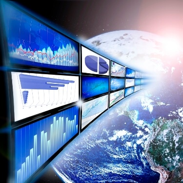 Stock photo of world with analytic dashboard screens flowing into the world