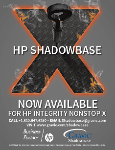 HP Shadowbase advertisement: now available for HP Integrity NonStop X