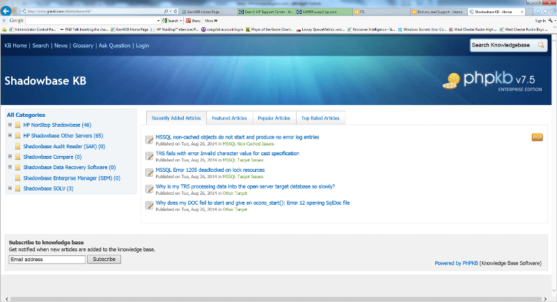 Snapshot of Shadowbase Knowledgebase