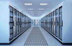 Stock photo of server room with servers in temperature controlled units