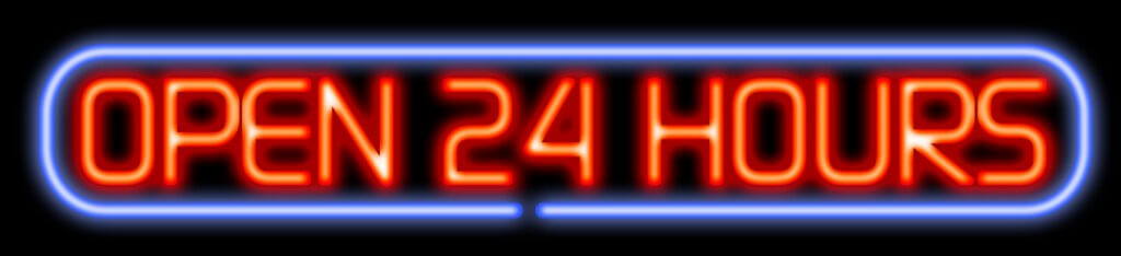 """Stock photo of """"Open 24 hours"""" LED sign"""