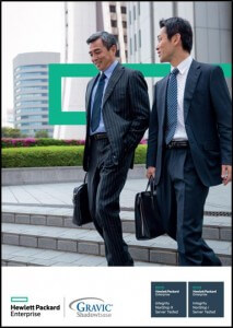 Advertisement including stock photo of two business men walking and talking with HPE logo in background