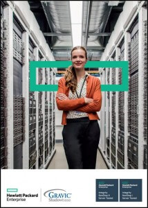 Advertisement including stock photo of woman crossing arms with HPE logo in background of server room
