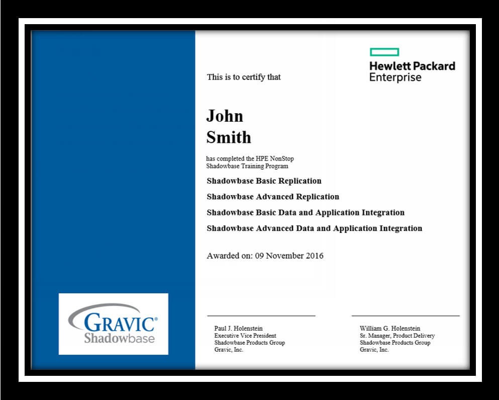HPE Shadowbase sample training certificate