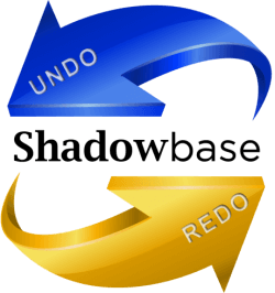Shadowbase undo and redo logo with blue and gold arrows