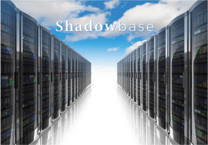 """Stock photo of server room with clouds in background and the text """"Shadowbase"""" at top"""