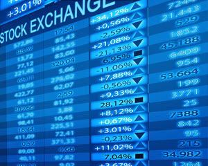 Blue stock exchange ticker with up and down arrows