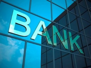 """Stock photo of """"bank"""" on glass window"""