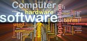 Software word cloud with other terms such as computer, hardware, application, testing, and many others