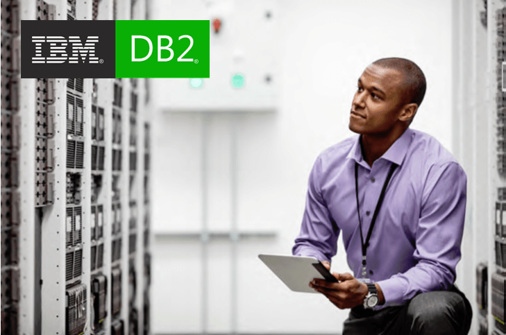IBM DB2 logo on an HPE stock photo of a man looking at servers in a server room
