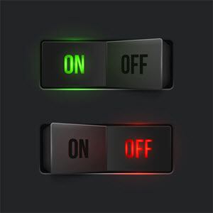 """Stock photo of two switches, one is switched """"on"""" and the other is """"off"""""""