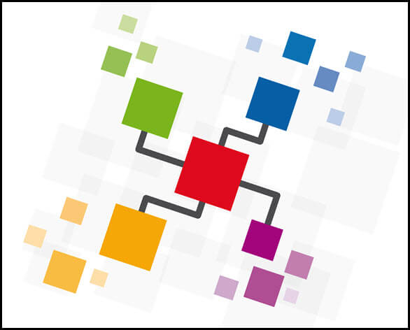 Stock photo of abstract red cube connected to green, blue, purple, and gold cubes and some smaller cubes next to each colored cube