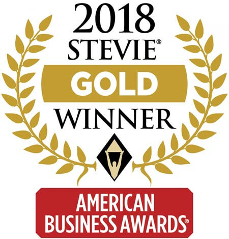 "Graphic award depicting ""2018 Stevie Gold Winner, American Business Awards"""