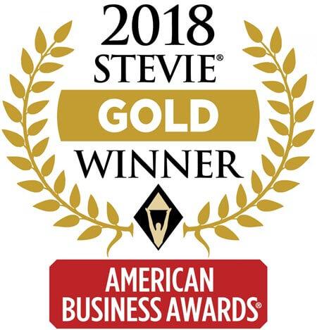 "Graphic award depicting ""2018 Stevie Gold Winner, American Business Awards"""